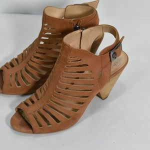 Vince Camuto Gladiator Cone Heel Brown Leather 8.5